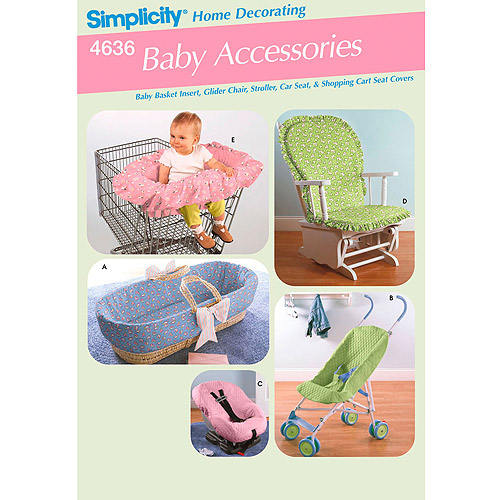Simplicity Pattern Baby Accessories, Covers For Rocking Chairs, Shopping Cart, Bassinet, Car Seat and Stroller, One Size