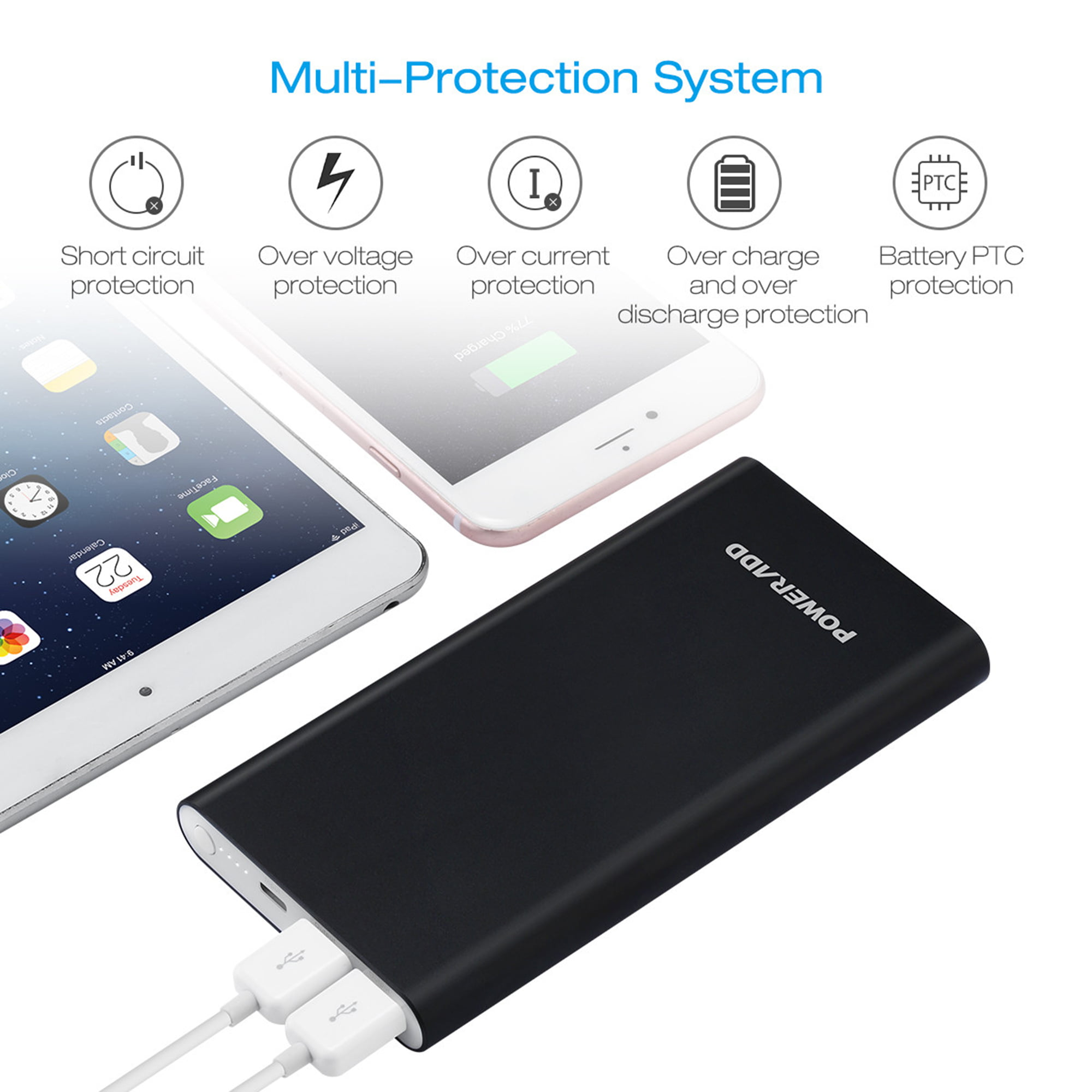 Poweradd Pilot 4gs 12000mah Power Bank Portable Charger 3a Dual Circuit Mobile Phone Battery Ports External Pack With Lightning 8 Pin Cable 33ft