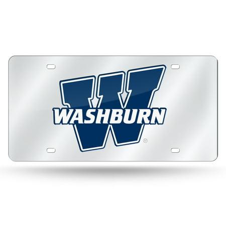 Mirrored License Plate - Washburn Ichabods NCAA Mirrored Laser Cut License Plate Laser Tag