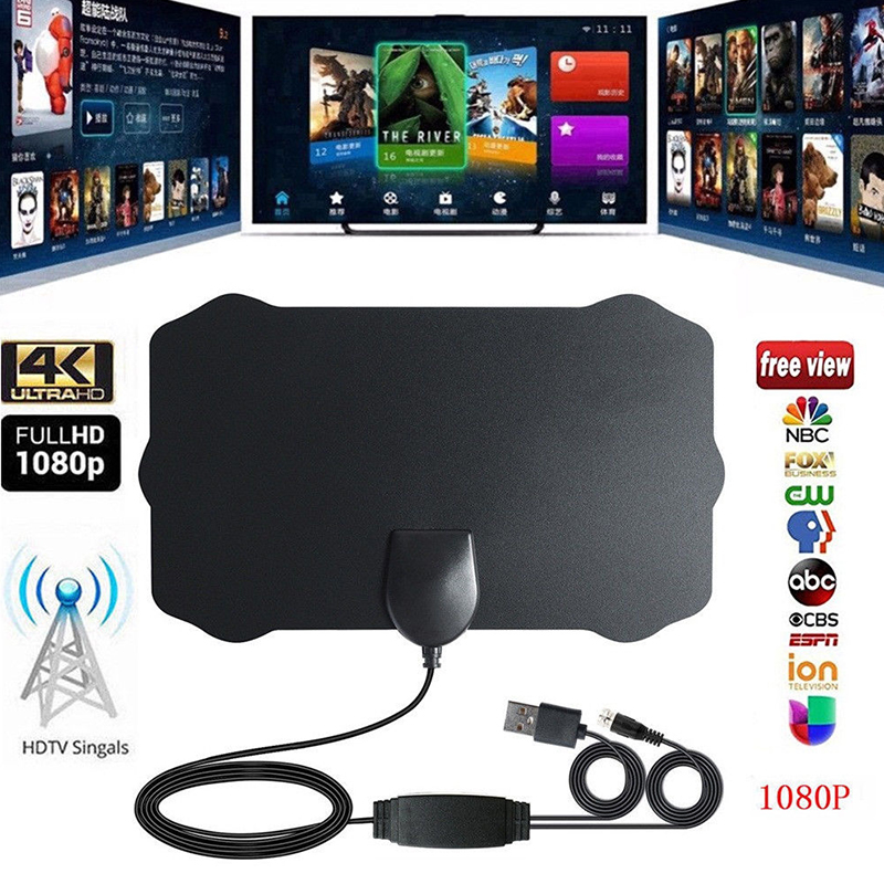 Antenna TV Digital HD 200 Mile Range Skywire TV Indoor 1080P 4K 13ft Coax Cables - image 2 of 5