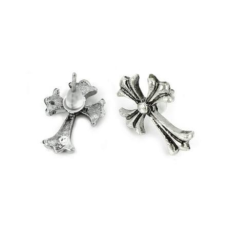 Ladies Mini Cross Shape Accent Metal Stud Earrings Sliver Tone (Mini Cross Earrings)