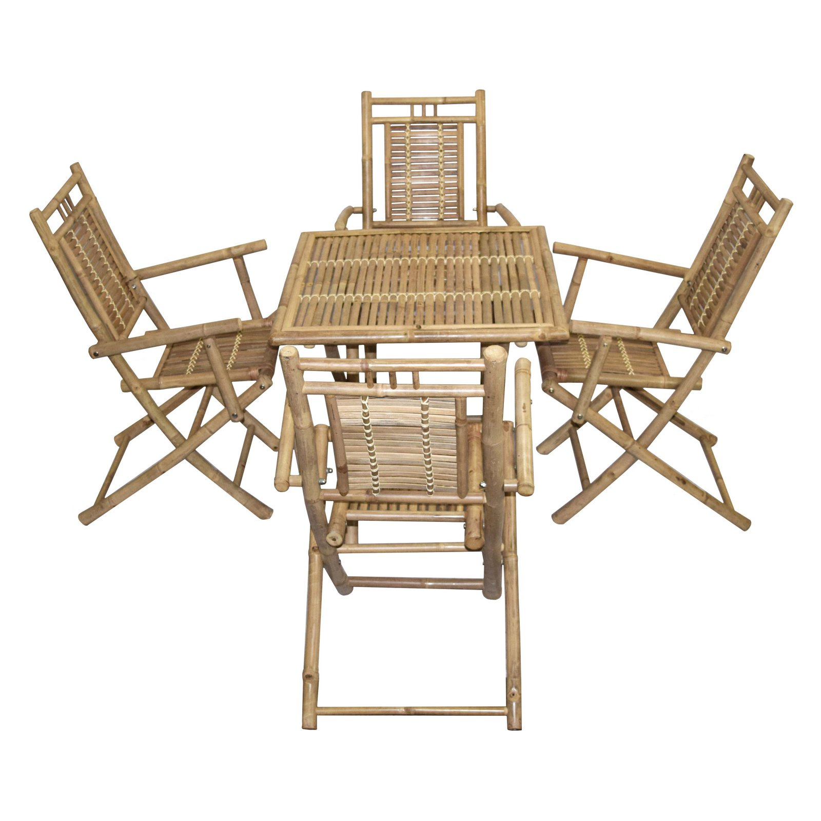 Bamboo54 Wood 5 Piece Square Patio Dining Set with Arm Chairs
