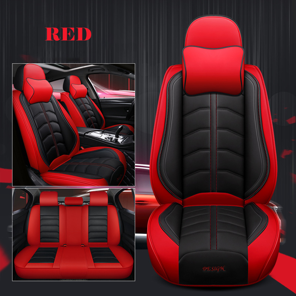 5-Seats Universal Car Seat Covers Front Rear Full Set PU Leather Accessories