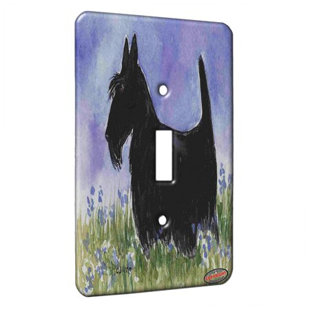 KuzmarK™ Single Gang Toggle Switch Wall Plate - Black Scottish Terrier with Blue Flowers Scottie Dog Art by Denise Every ()