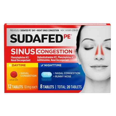 Sudafed PE Day + Night Maximum Strength Sinus Decongestant, 20 (Best Medication For Sinus Pressure)