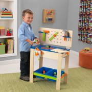 KidKraft Deluxe Wooden Workbench Toy with Four Play Tools, Rotating Pretend Buzz Saw and Storage Bins