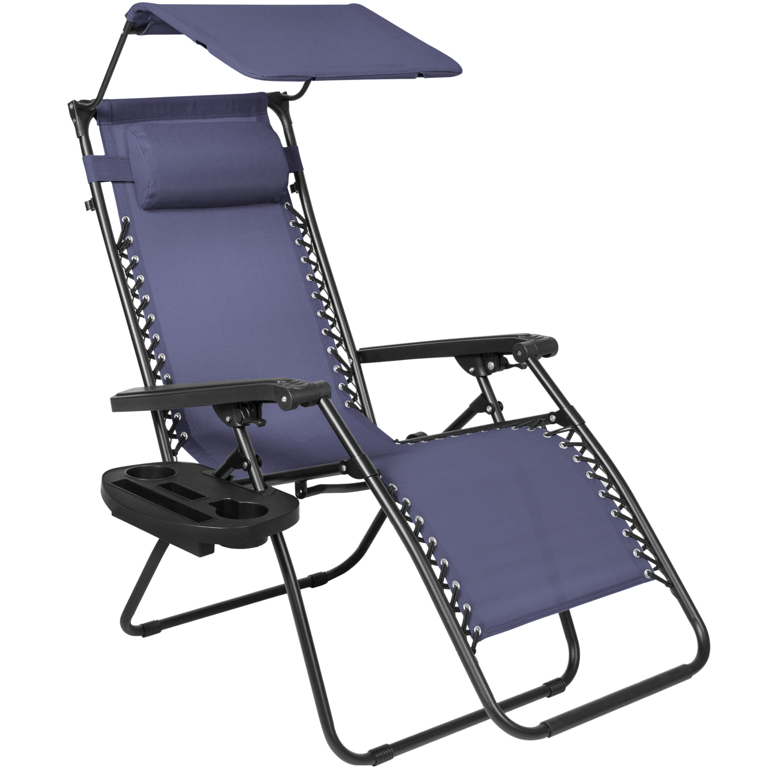 Best Choice Products Folding Zero Gravity Recliner Lounge Chair w  Canopy Shade & Magazine Cup Holder (Navy Blue) by