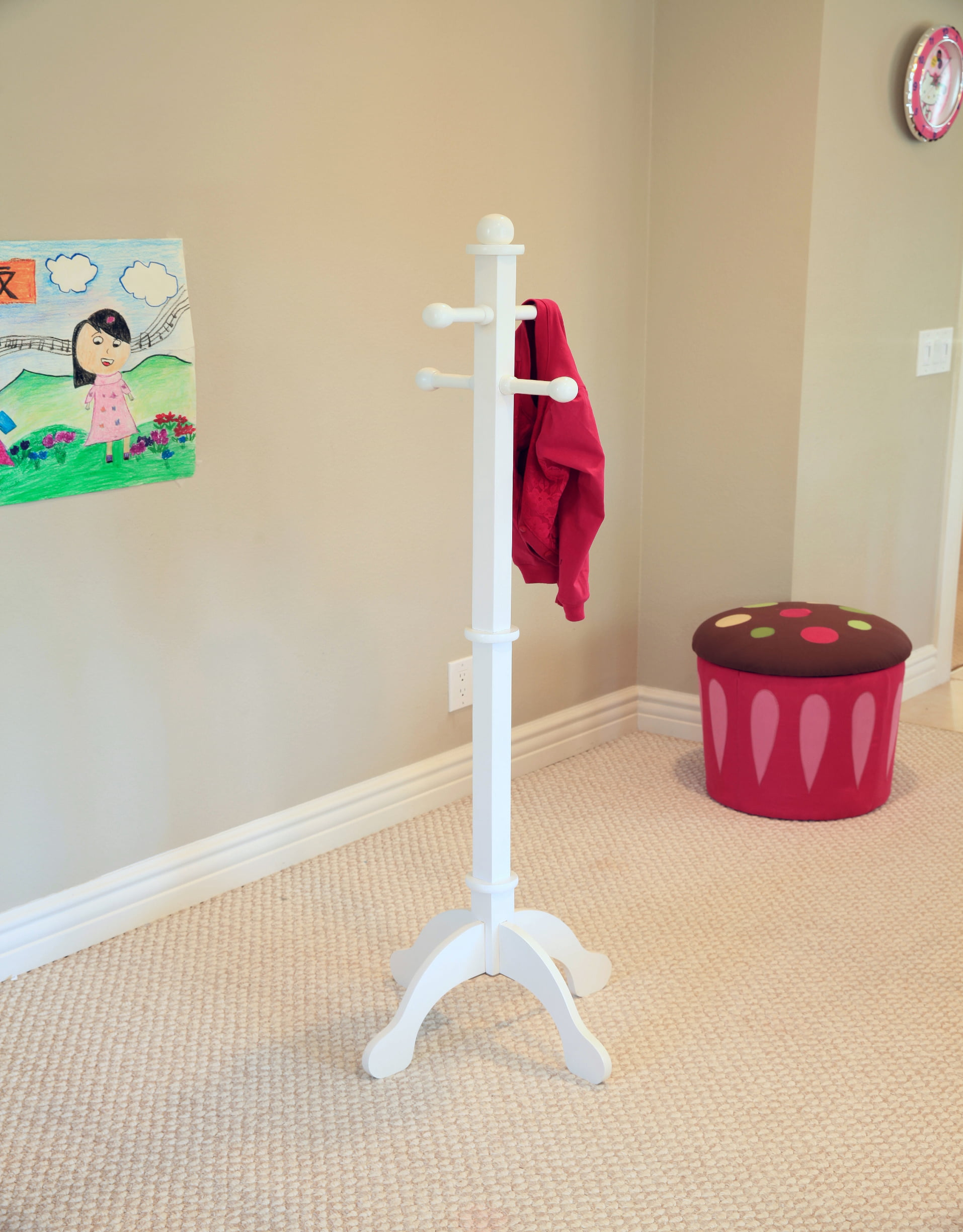 Home Craft Kids' Multi-Use Coat Rack, White by Generic
