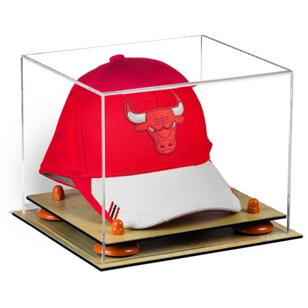 Acrylic Display Case Wood Base - Deluxe Clear Acrylic Basketball Hat or Cap Display Case with Orange Risers and Wood Base (A006-OR)