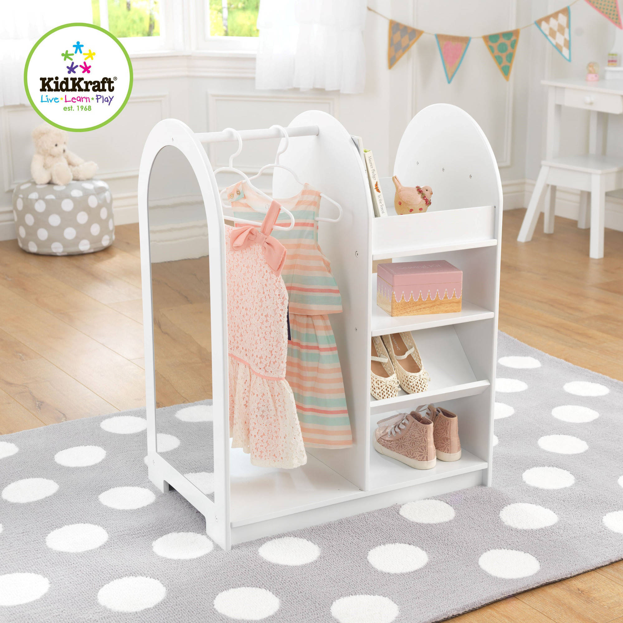 KidKraft Let's Play Dress Up Unit, White