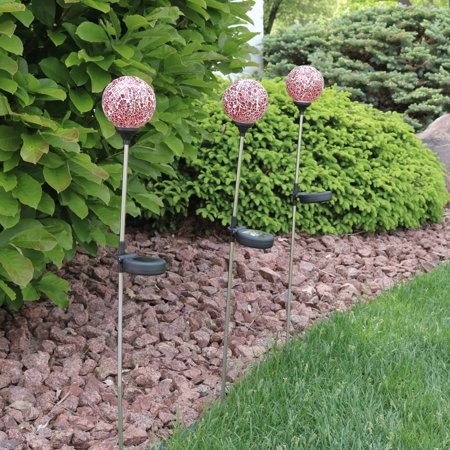 Sunnydaze Solar Garden Stake Lights (Set of 3), Outdoor Landscape LED Mosaic Glass Globe Decoration, Pink