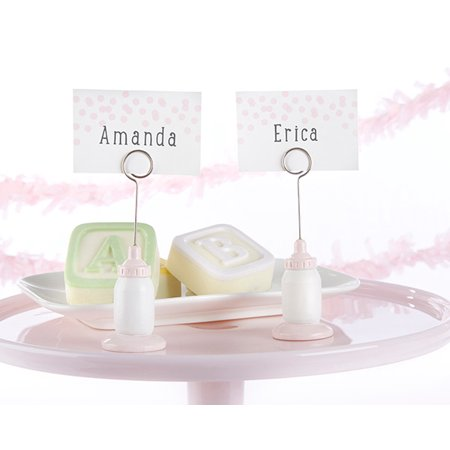 Contemporary Place Card Holders - Classic Pink Baby Bottle Place Card Holder (Set of 6)