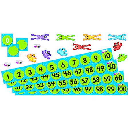 Frog Pond Number Line - Frog Pond Number Line Bulletin Board Set (T-8211), Numbered lily pads introduce number recognition, counting, colors, sorting, and interactive activities and games. By Trend Enterprises