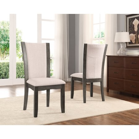 Roundhill Furniture Kecco Grey Solid Wood Dining Chairs, Set of - Furniture Solid Wood Bow