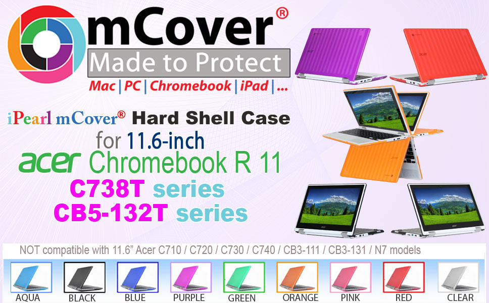 iPearl MCOVERACR11CLR Mcover Hard Shell Case For 11.6 Acer Chromebook R11