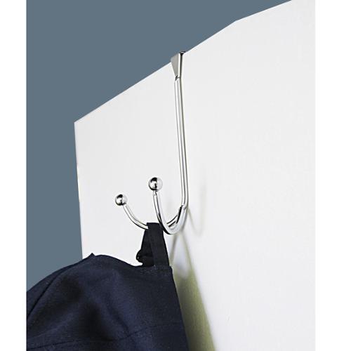 Home Basics Over The Door Double Hook, Chrome