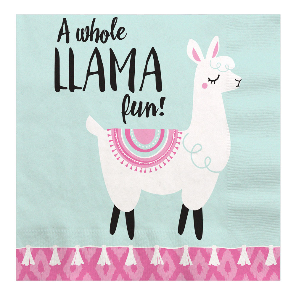 Whole Llama Fun - Llama Fiesta Baby Shower or Birthday Party Luncheon Napkins (16 Count)