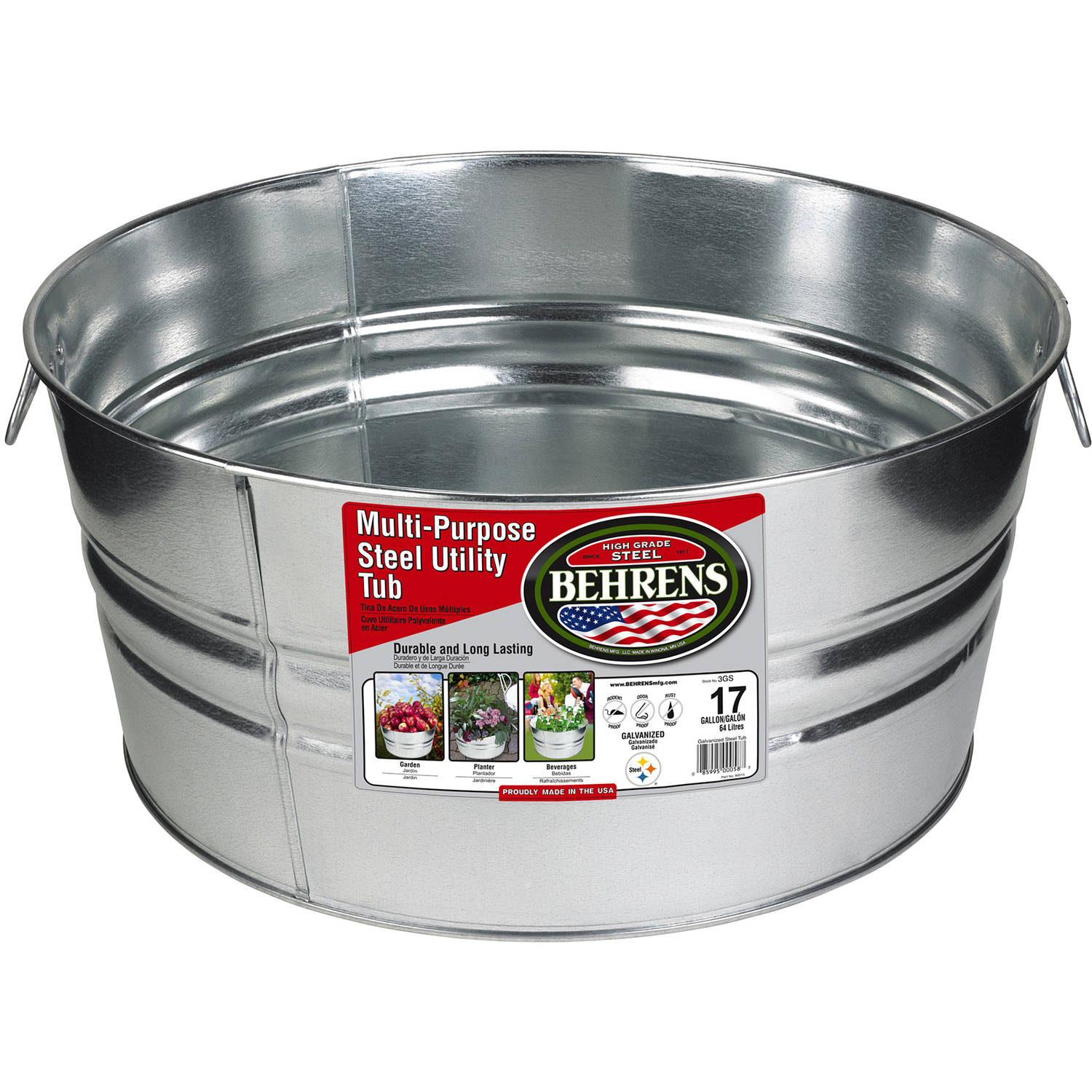 Behrens High Grade Steel 3GS 17 Gal Silver Galvanized Steel Round Tub
