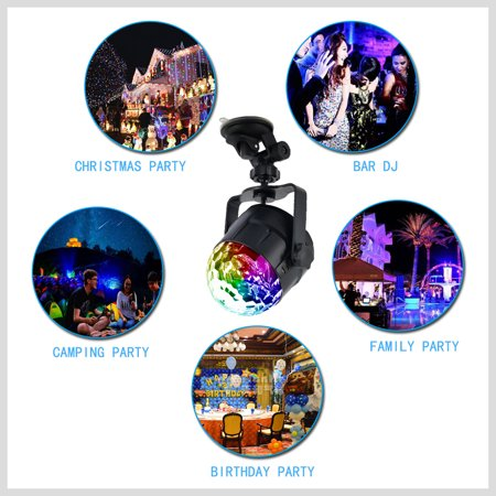15 Colors LED USB Car DJ Disco Ball Lumiere 5W Sound Activated Projector RGBP Stage Lighting Effect Lamp Light Music Christmas KTV Party - image 3 de 7