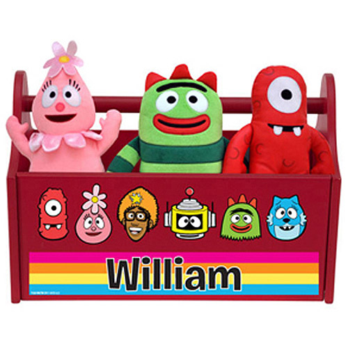 Personalized Yo Gabba Gabba! Line-Up Red Toy Caddy