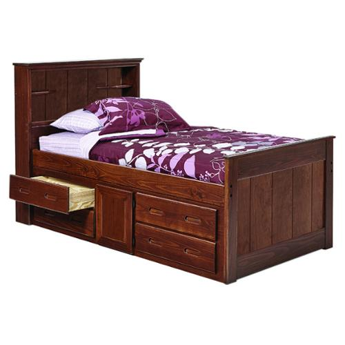 Woodcrest Heartland Bookcase Twin Captains Bed with Storage Twin, Chocolate