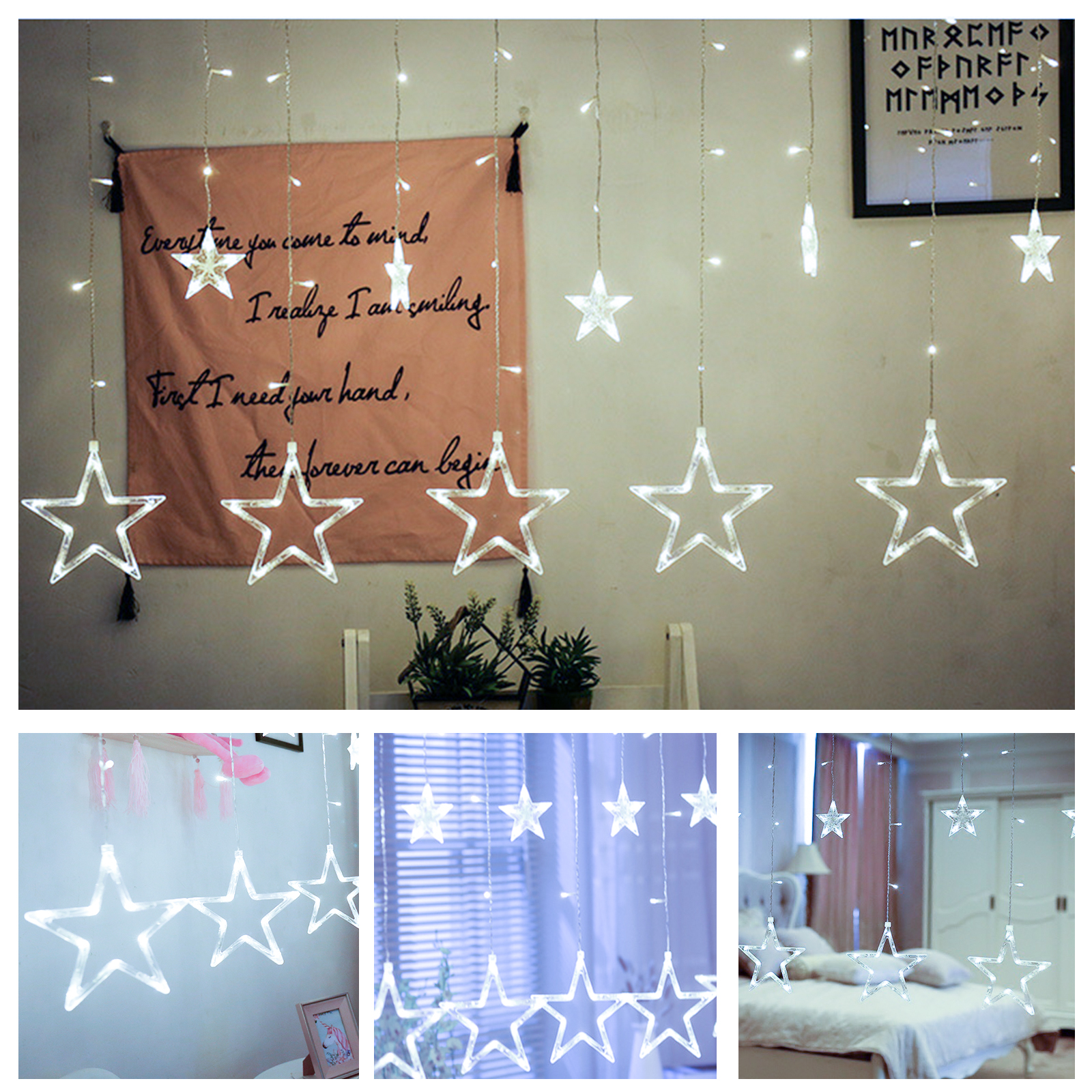 Twinkle Star 12 Stars 138 LED Curtain String Lights, Window Curtain Lights with 8 Flashing Modes Decoration for Christmas, Wedding, Party, Home, Patio Lawn, White/Warm White