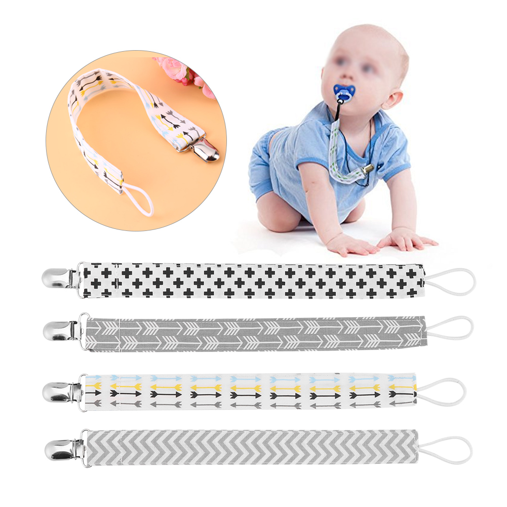 Filfeel 4pcs Baby Pacifier Clip Chain Printing Cotton Strap Soother Nipple Holder for Infant Child Set, Pacifier Strap, Pacifier Leash