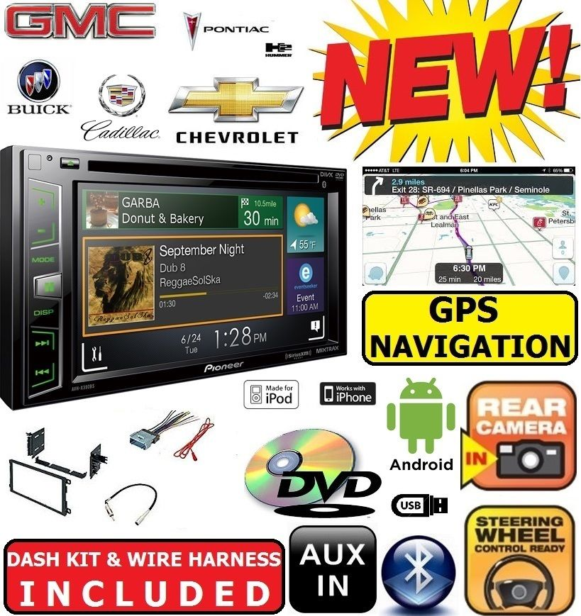 CHEVY-GMC GPS NAVIGATION Cd Dvd Bluetooth Radio Stereo Double Din Dash Kit Car by Pioneer