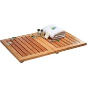 Bambusi Luxury Bamboo Bath Mat - Non-Slip Shower Floor Mat for Bathroom and Spa Folds for Easy Storage