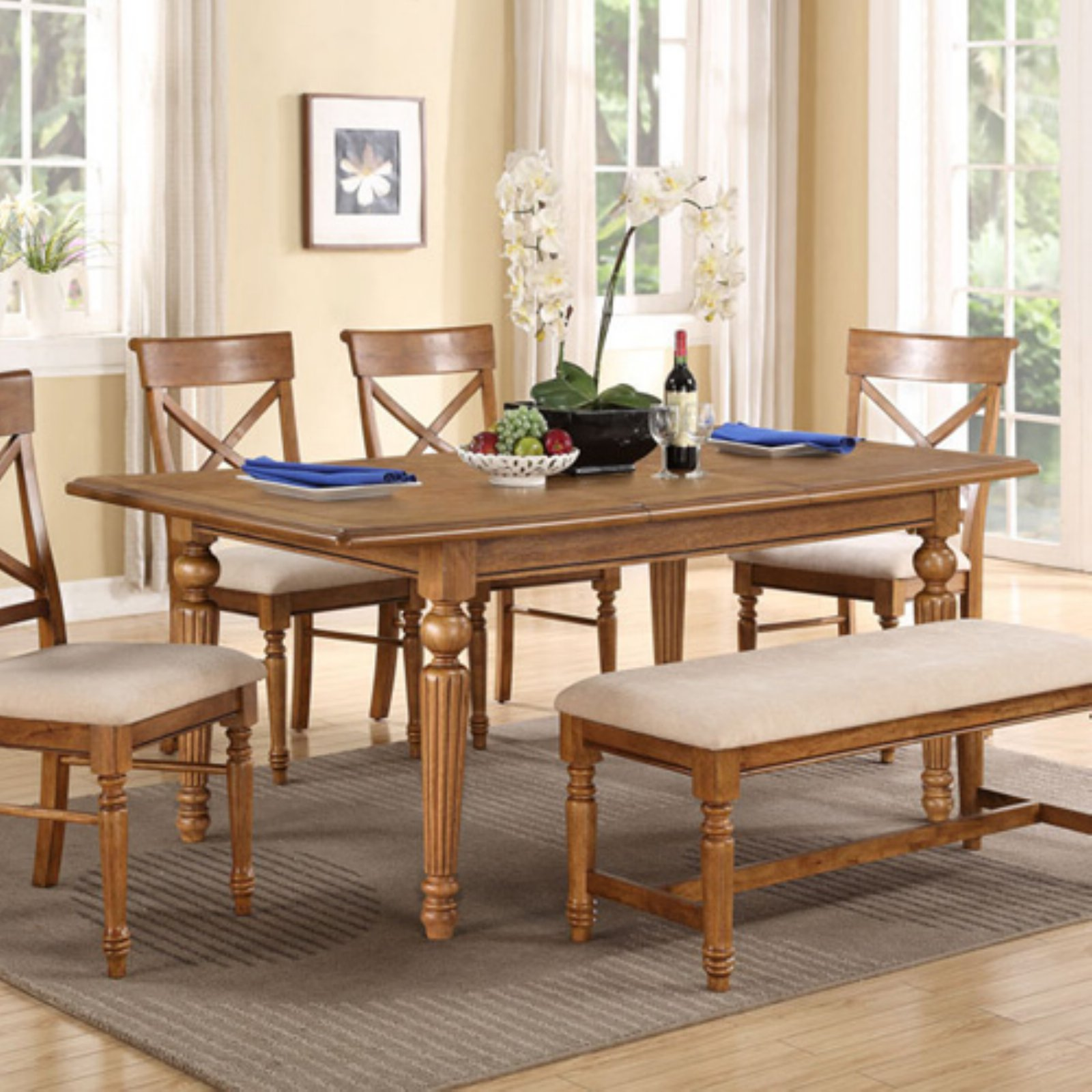 Emerald Home Fowler 68 in. Dining Table with Butterfly Leaf - Brown