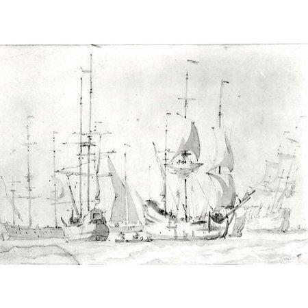 "Dutch Merchant Ships at Anchor or under Easy Sail in a Moderate Breeze Poster Print by Willem van de Velde I (Dutch Leiden 1611  ""1693 London) (and another hand) (18 x 24) (Dutch Merchant Ships)"