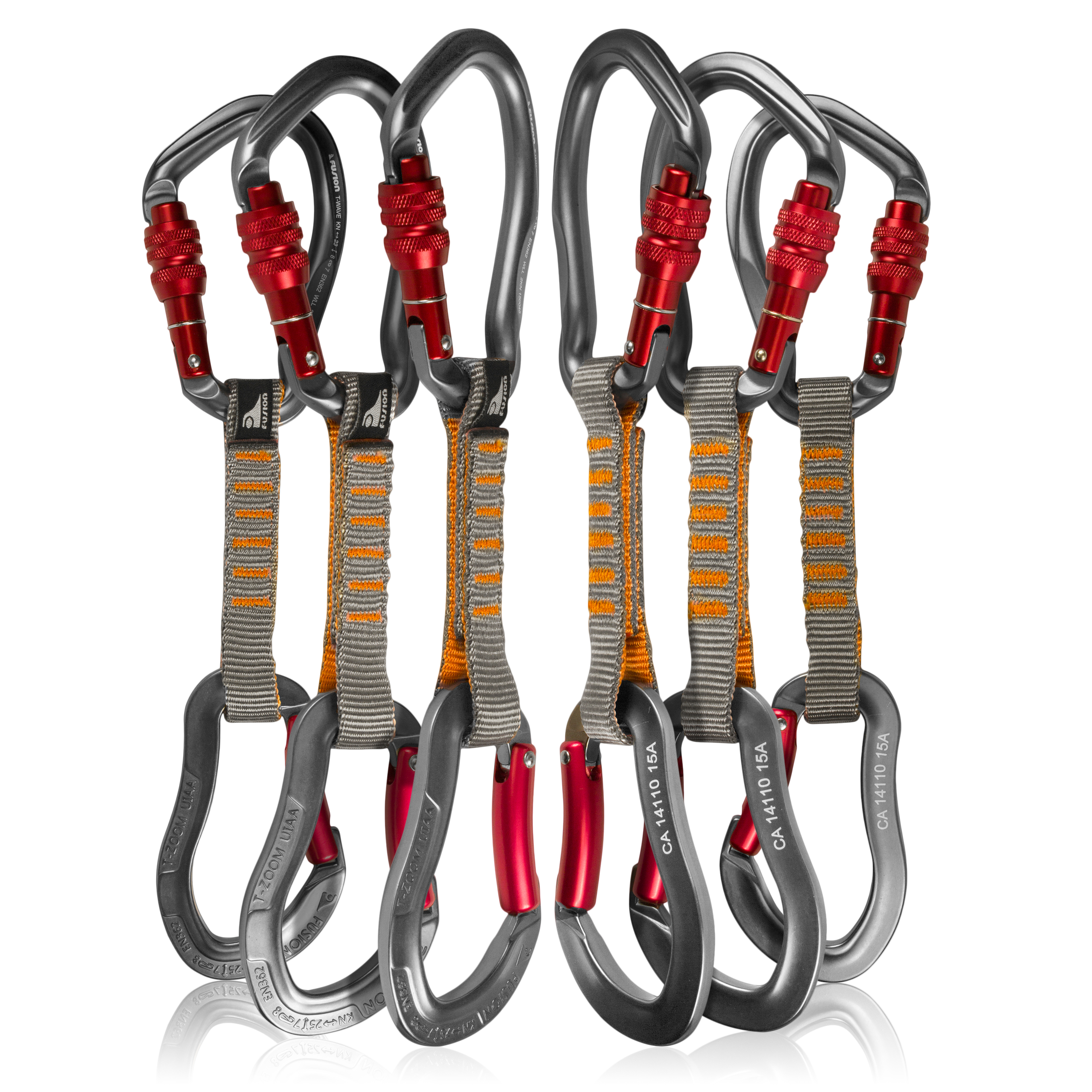 Fusion Climb 6-Pack 11cm Quickdraw Set with Techno Wave Burgundy Screw Gate Carabiner/Techno Zoom Burgundy Bent Gate Carabiner