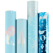 "LaRibbons Christmas Gift Wrapping Paper - Ice Blue Collection 4 Rolls, 30"" x 120""/Roll"