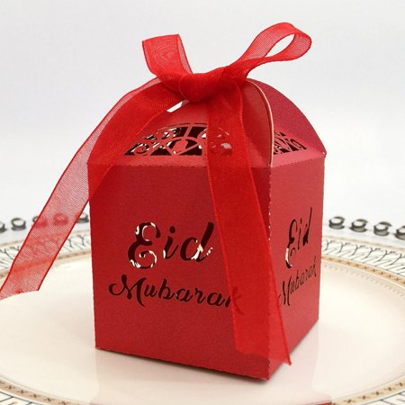 Pink Chocolate Cigars (KABOER Muslim Ramadan Festival Openwork candy box Gold and silver EID chocolate box Eid Mubar,50)