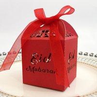 KABOER Muslim Ramadan Festival Openwork candy box Gold and silver EID chocolate box Eid Mubar,50 PCS