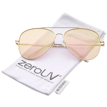 70c51c81b8 zeroUV - zeroUV - Large Metal Frame Colored Mirror Flat Lens Aviator  Sunglasses 60mm - 60mm - Walmart.com