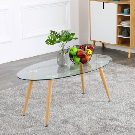 UBesGoo Dining Table Modern Round Glass Clear Table for Kitchen Dining Room Coffee Table Modern Leisure Tea Table Office Conference Pedestal Desk with Wood Grain Legs ()