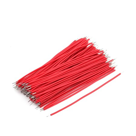 200pcs 0.7mm x 50mm Dual Head Electric Insulated Flexible PVC Wire Cable Red