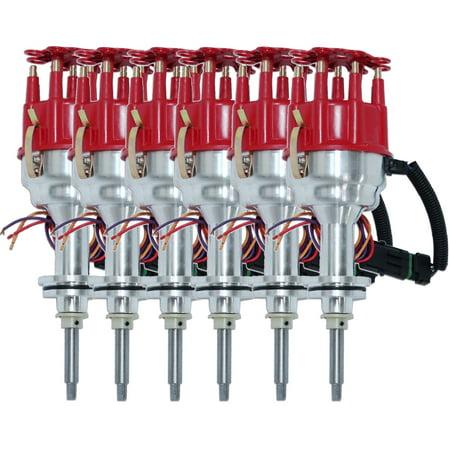 (Set of 6) Fits Chrysler 318 8000 Series Pro Billet Magnetic Pickup Distributor