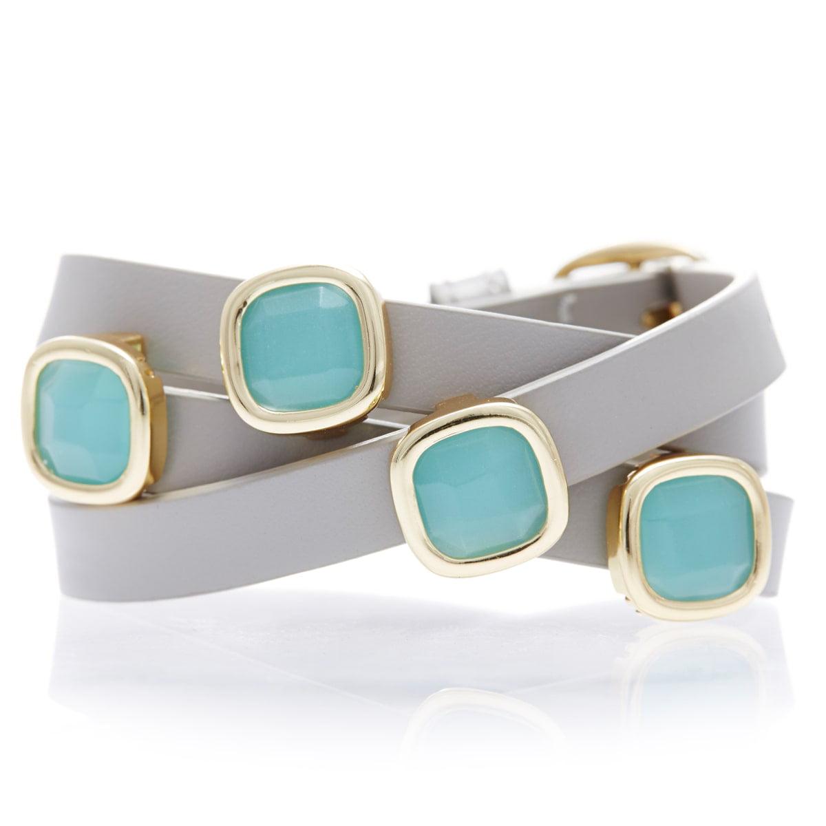 Sacred Jewels Alchemy Jewelry 18k Goldplated Peru Chalcedony Gemstone Leather Wrap Bracelet by Overstock