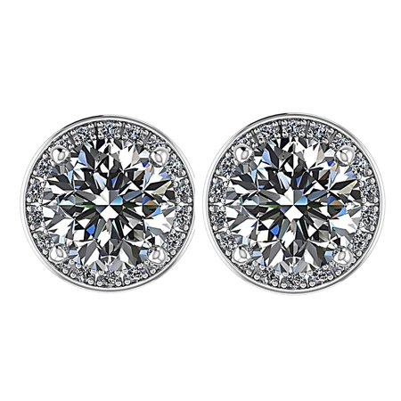2.50cttw Round Halo Swarovski Zirconia CZ Stud Earrings Sterling Silver with 14kt solid gold Hypoallergenic post Platinum plated Gold Plated Center