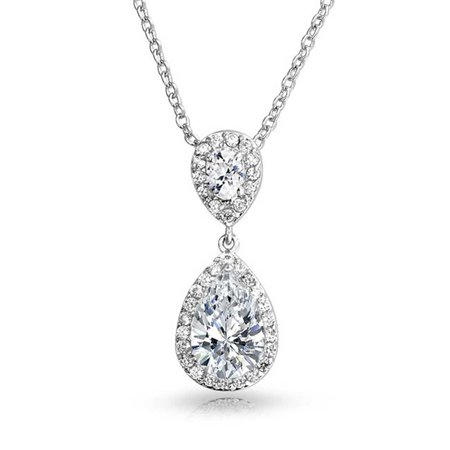Bridal Pear Cubic Zirconia AAA CZ Large Teardrop Solitaire Pendant Necklace For Wedding For Women Silver Plated Brass (Hammered Teardrop Necklace)