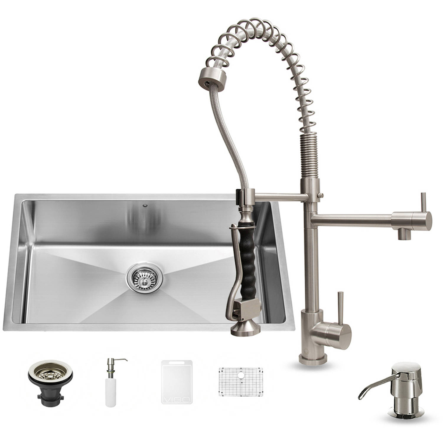 "Vigo All-in-One 32"" Undermount Stainless Steel Kitchen Sink and Faucet Set"