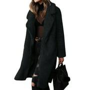 Women Ladies Fleece Woolen Winter Long Peacoat Coat Trench Outwear Jacket