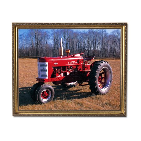 Vintage 1955 Farmall 400 Farm Tractor Wall Picture Gold Framed Art Print