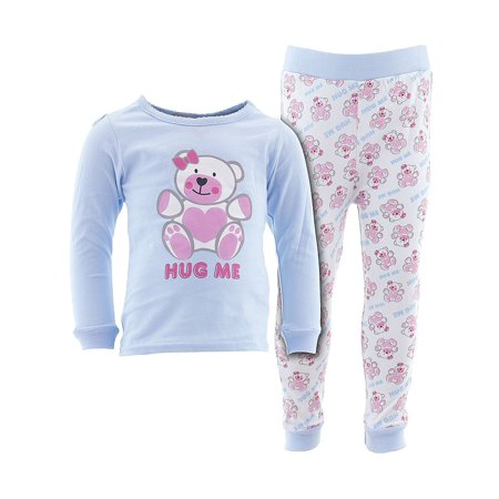 Sweet & Soft Little Girls Blue Hug Me Cotton Pajamas ()