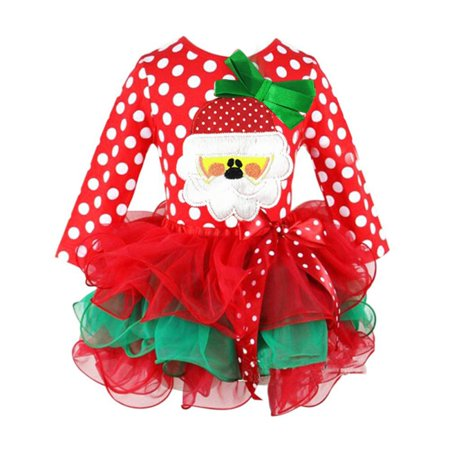 Enjoyofmine Girls Santa Claus Princess Dress Dot Gauze Christmas Gift Winter Dress for Girls - Dress For Girl