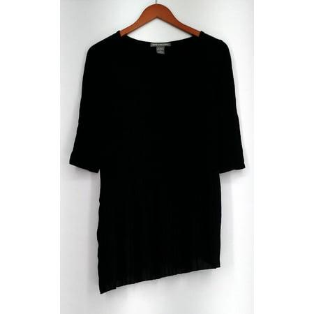 Kate & Mallory Sz XS Scoop Neckline Top w/ Asymmetric Pleats Black A428323