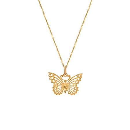 14 Karat Yellow Open Wing Butterfly Pendant Necklace, 18""