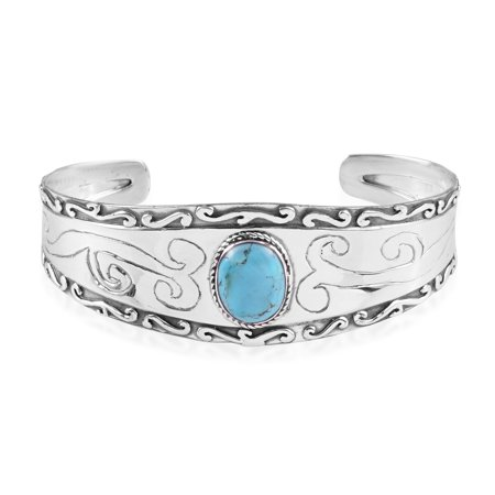 Santa Fe Style Kingman Turquoise 925 Sterling Silver Cuff Bangle Bracelet for Women Southwest Jewelry 6.50